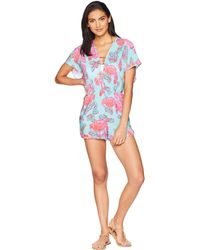 2e42a6e7d397 Nanette Lepore - Wonderland Floral Romper With Pockets Cover-up (multi)  Women s Jumpsuit