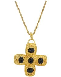"Kenneth Jay Lane - 32"" Gold Chain Black Cabochon Cross Necklace - Lyst"