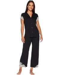 Natori - Luxe Shangri-la Short Sleeve Notch Pj Set (black) Women's Pajama Sets - Lyst