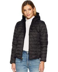 Marc New York - Melrose Reversible To Fur Short Packable Puffer (black/forset) Women's Coat - Lyst