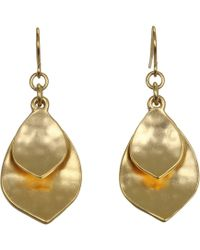 Lauren by Ralph Lauren | Hammered Double Teardrop Earrings | Lyst