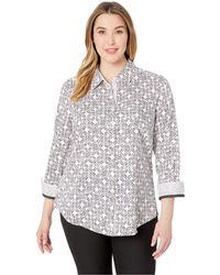 d5014d84fc9e2 Lyst - Foxcroft Ava Non-iron Tile Print Cotton Shirt (plus Size) in Blue