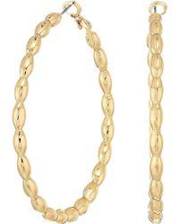 Steve Madden - Patterned Hoop In Out Earrings (gold) Earring - Lyst