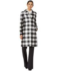 Anne Klein - Large Check Peter Pan Collar Long Coat (anne Black/anne White Combo) Women's Coat - Lyst