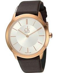Calvin Klein - Minimal Watch - K3m226g6 (silver/brown) Watches - Lyst