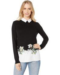 76d46a174 Lyst - Ted Baker Halie Embellished Neck Sweater in Black