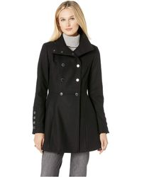 Calvin Klein - Double Breasted Military Style Wool Cotton With Large Gold Button Detail (black) Women's Coat - Lyst