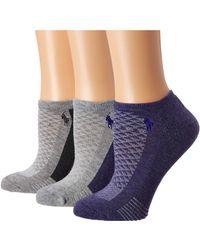 Lauren by Ralph Lauren - Cushion Contrast Sole Low Cut 3-pack W/ Mesh (purple) Women's Low Cut Socks Shoes - Lyst