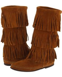 Minnetonka - Calf Hi 3-layer Fringe Boot - Lyst
