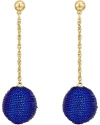 Kenneth Jay Lane - Blue Thread Wrapped Ball On Gold Chain Drop Post Earrings - Lyst
