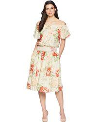 Donna Morgan - Off The Shoulder Linen Dress With Smocked Waist (beige/red Multi) Women's Dress - Lyst