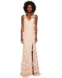 Notte by Marchesa - V-neck Embroidered Gown W/ 3d Chiffon Flowers And Front Slit And Velvet Waistband - Lyst