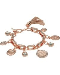 Guess - Logo Charm Bracelet With Toggle Close (rose Gold) Charms Bracelet - Lyst