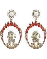 Betsey Johnson - Dog Drop Earrings (orange) Earring - Lyst