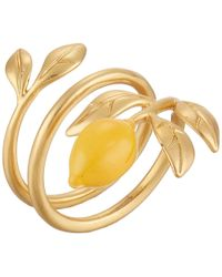 Tory Burch - Delicate Lemon Ring (rolled Brass/sunny Yellow) Ring - Lyst