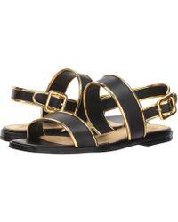 Tory Burch - Delaney Flat Sandal (perfect Black/gold) Women's Shoes - Lyst