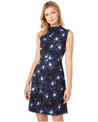 Ellen Tracy - Sleeveless Mock Neck Dress (twilight Blooms Blue) Women's Dress - Lyst