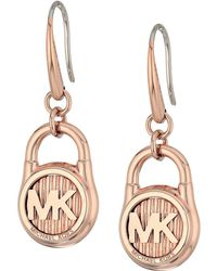 Michael Kors - Logo Lock Stud Earrings (rose Gold) Earring - Lyst