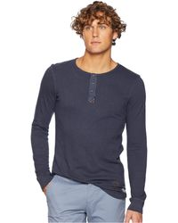 Scotch & Soda - Garment-dyed Long Sleeve Grandad T-shirt (steel) Men's T Shirt - Lyst
