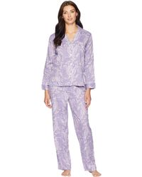 Lauren by Ralph Lauren - Classic Woven Long Sleeve Pointed Notch Collar Pajama Set (lilac Print) Women's Pajama Sets - Lyst