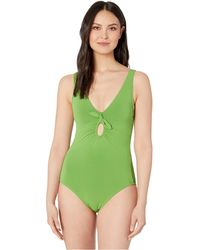 5ff7dca9be6c Robin Piccone Ava Plunge Halter One Piece Swimsuit in Black - Lyst