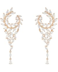 Nina - Fern Front/back Chandelier Earrings (rose Gold/white Cz) Earring - Lyst
