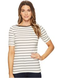 Lauren by Ralph Lauren - Striped Cotton Boat Neck Top (white/lipstick Red) Women's Clothing - Lyst