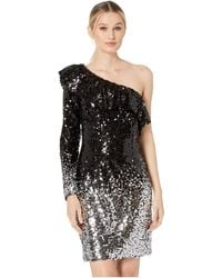 Laundry by Shelli Segal - One Shoulder Ombre Sequin Cocktail Dress (black/silver) Women's Dress - Lyst