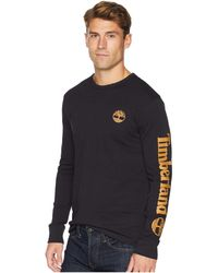 Timberland - Long Sleeve Logo Tee (black/wheat) Men's Long Sleeve Pullover - Lyst