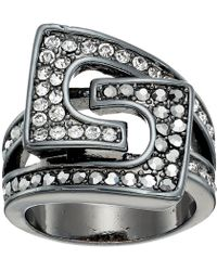 Guess - 95105-21c (crystals/gunmetal) Ring - Lyst