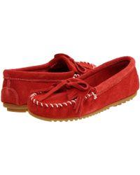 Minnetonka - Kilty Suede Moc (hardsole Navy Suede) Women's Moccasin Shoes - Lyst
