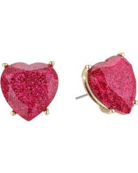 Betsey Johnson - Fuchsia Sparkle Heart Stud Earrings - Lyst
