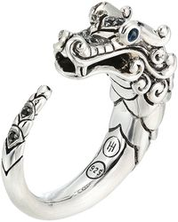 John Hardy - Legends Naga Brushed Ring With Black Sapphire - Lyst