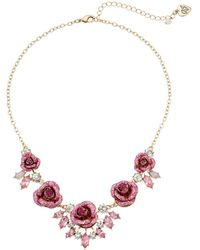 Betsey Johnson - Glitter Rose Necklace Rose - Lyst