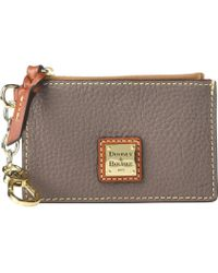 Dooney & Bourke - Pebble Zip Top Card Case (steel Blue/tan Trim) Credit Card Wallet - Lyst