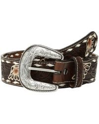 Ariat - Floral Emboss Painted Flower Buckstitch Belt (tan) Men's Belts - Lyst