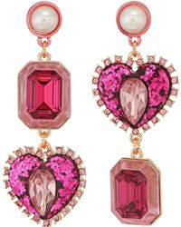 Betsey Johnson - Rose Gold Pink Crystal Heart Non-matching Earrings - Lyst