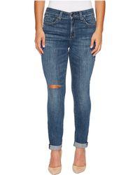 NYDJ | Petite Girlfriend Jeans W/ Knee Slit In Crosshatch Denim In Newton Knee Slit | Lyst