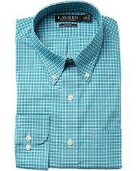 Lauren by Ralph Lauren - Slim Fit Non Iron Broadcloth Plaid Button Down Collar Dress Shirt - Lyst