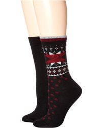 Hue - Fair Isle Boot Socks 2-pair Pack (light Charcoal Heather) Women's Crew Cut Socks Shoes - Lyst