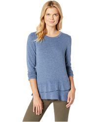 Mod-o-doc - So Soft Sweater Knit Long Sleeve Pullover With Asymmetrical Flounce Hem (blue) Women's Sweater - Lyst