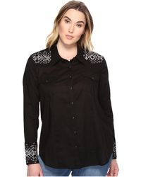 Stetson - Plus Size Solid Lawn - Black Long Sleeve Western Shirt - Lyst