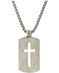 Steve Madden - Open Cross Dogtag Necklace With 18 Box Chain (silver) Necklace - Lyst