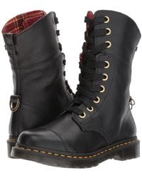 Dr. Martens - Aimilita 9-eye Toe Cap Boot (black Aunt Sally/dms Tartan Cherry Red Wool) Women's Lace-up Boots - Lyst