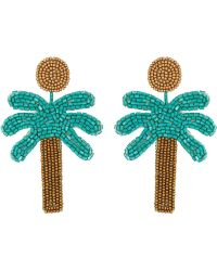 "Kenneth Jay Lane - 3"" Gold Top/green Seedbead Palm Tree Post Earrings - Lyst"