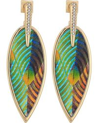 Vince Camuto - Inlaid Leather Front Statement Earrings (silver) Earring - Lyst