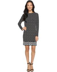 52611609248 MICHAEL Michael Kors - Nezla Long Sleeve Boat Neck Border Dress (black)  Women s Dress