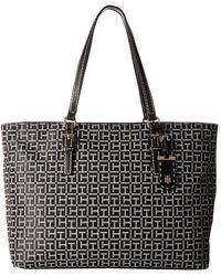Tommy Hilfiger - Julia Signature Jacquard Tote (black/white) Tote Handbags - Lyst