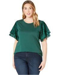 MICHAEL Michael Kors - Plus Size Velvet Flutter Sleeve Tee (dark Emerald) Women's T Shirt - Lyst