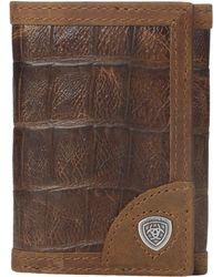Ariat - Shield Croco Tri-fold Wallet - Lyst